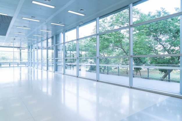 commercial glass security film inside building
