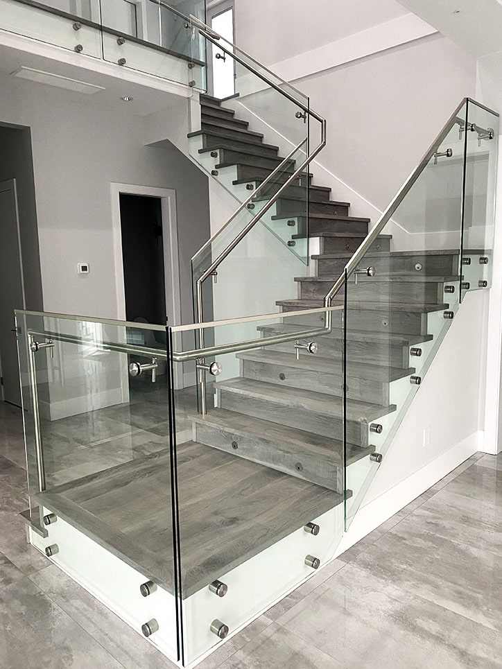 glass railing in home