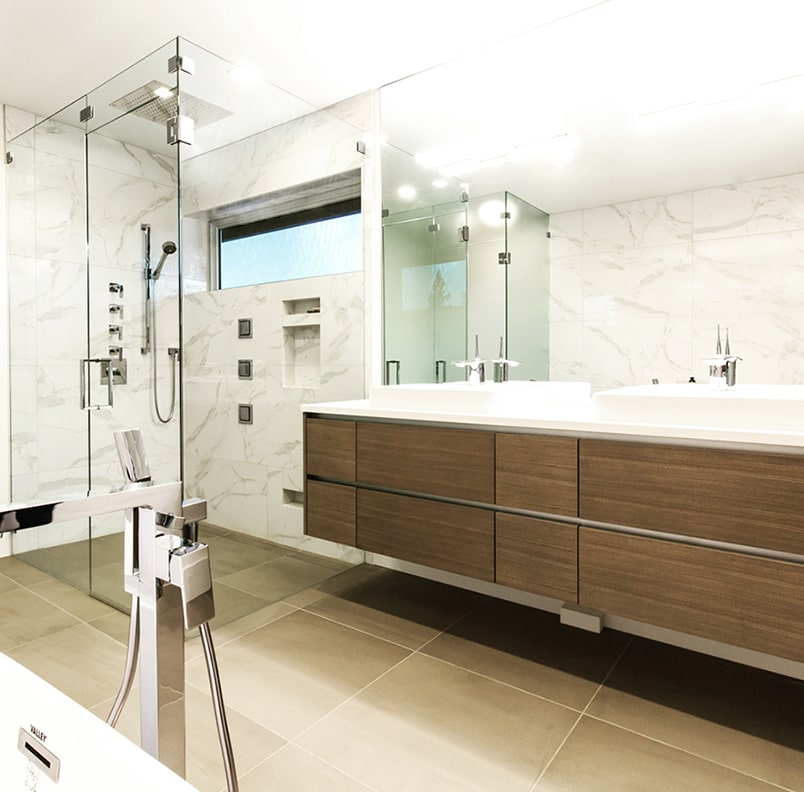 residential glass in bathroom